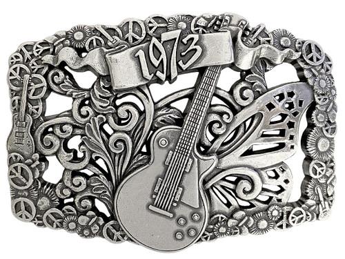 """Unique Buckle 1973 Guitar Antique Engraved Buckle Fits 1-1/2""""(38mm) Wide Belt"""
