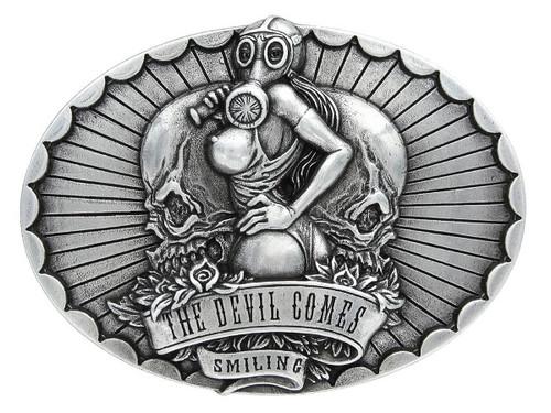 The Devil Comes Smiling Buckle Antique Engraved Unique Buckle