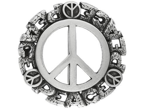 """Unique Buckle Antique Peace Sign Engraved Buckle Fits 1-1/2"""" Wide Belt"""
