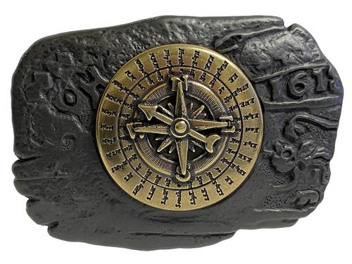 Antique Copper Pirate Brass Compass Engraved Belt Buckle