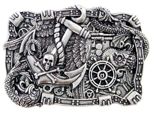 Antique Silver Boat Anchor Rudder Skull Punk Engraved Belt Buckle