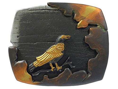 Vintage Antique Black Gold Crow Engraved 3D Belt Buckle