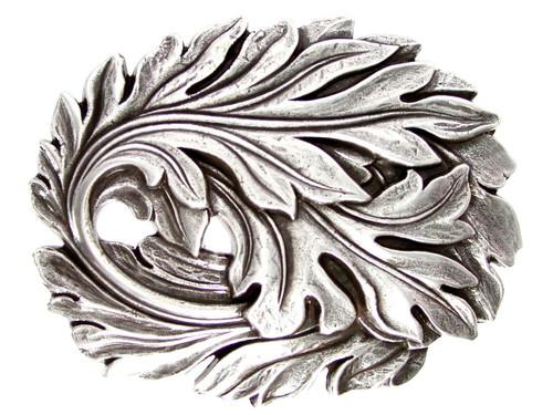 Unique Buckle Antique Silver Leaf Engraved Leaf Belt Buckle