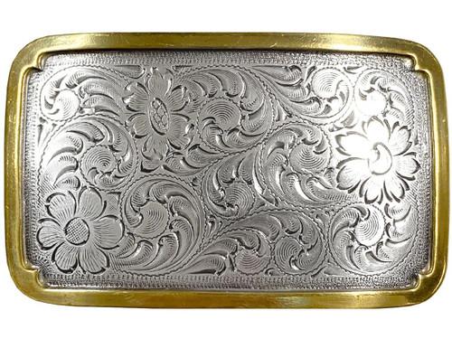 """Antique Silver Gold Western Floral Scroll Engraved Belt Buckle Fits 1-1/2""""(38mm) Belt Strap"""