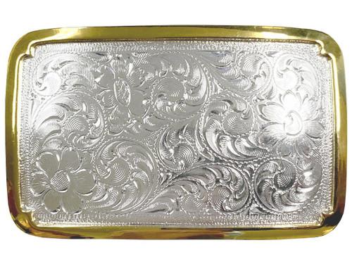 "Bright Silver Gold Western Floral Scroll Engraved Belt Buckle Fits 1-1/2""(38mm) Belt Strap"
