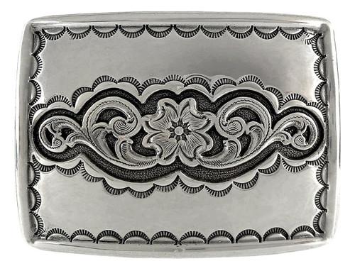 H8140 Western Floral Design Antique Silver Western Belt Buckle