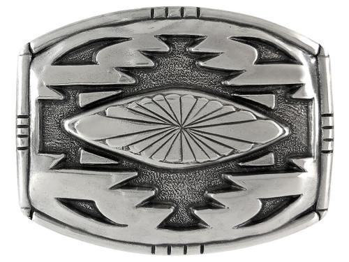 American Southwest Geometric Pattern Antique Silver Western Belt Buckle