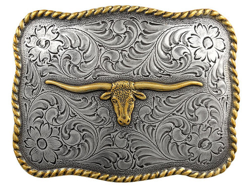Western Texas Longhorn Steer Antique Silver and Gold Belt Buckle