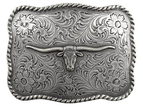 Western Antique Silver Texas Longhorn Steer Head Belt Buckle