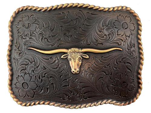 Western Antique Copper Texas Longhorn Steer Head Belt Buckle