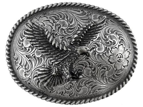Western Antique Silver Engraved American Eagle Belt Buckle