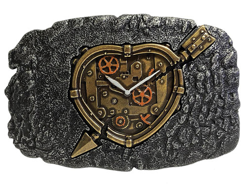 HA2341 Antique Vantage Engraved Steampunk Clockwork Cupid Heart Belt Buckle