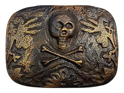 "HA2344 Unique Buckle Vintage Rustic Copper Skull Engraved Buckle Fits 1-1/2""(38mm) Wide Belt"