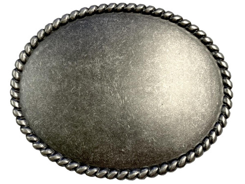 """Rope Edge Engrave Buckle Oval Blank Plain Buckle Fits 1-1/2"""" (38mm) Belt Strap-Antique Silver"""