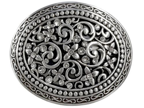 Antique Silver Engraved Rhinestone Crystal Belt Buckle