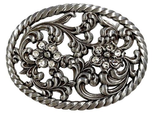 "Antique Engraved Rhinestone Crystal Buckle fits 1-1/2"" Wide Belt"