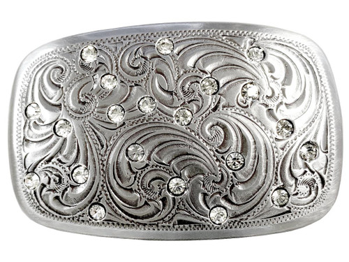 "Sparkling Rhinestone Engraved Cowgirl's Western Belt Buckle Fits 1-1/2""(38mm) Wide Belt"