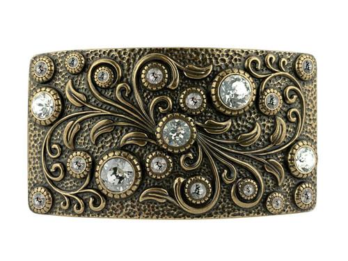 HA0850 OEB Rhinestone Crystal Belt Buckle Antique Rectangle Floral Engraved Buckle (Crystal)