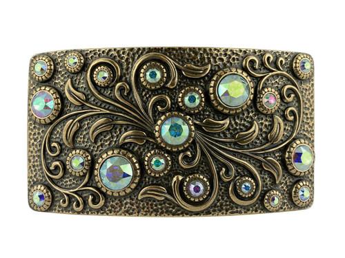 HA0850 OEB Rhinestone Crystal Belt Buckle Antique Rectangle Floral Engraved Buckle (Crystal-AB)
