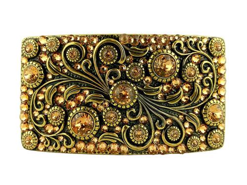 HA0850 OEB  Rhinestone Crystal Belt Buckle Brass Rectangle Floral Engraved Buckle - Brass-Full Lt Col Topaz