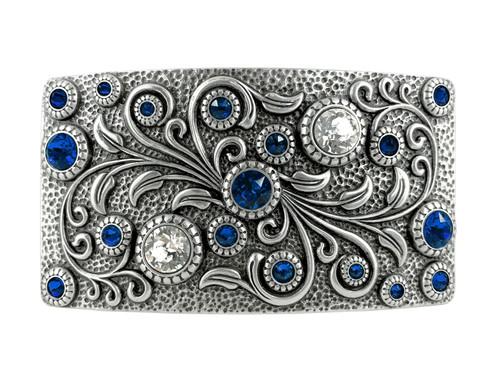 HA0850 LASRP Rhinestone Crystal Belt Buckle Antique Rectangle Floral Engraved Buckle (Crystal-Capri Blue)