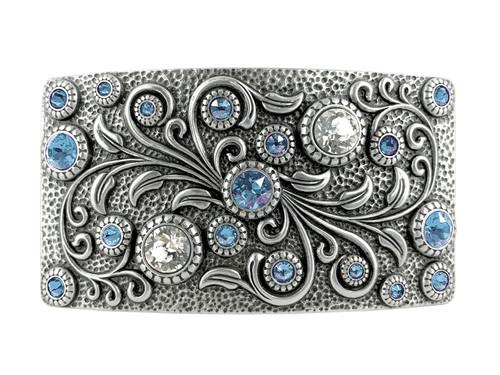 HA0850 LASRP Rhinestone Crystal Belt Buckle Antique Rectangle Floral Engraved Buckle (Crystal-Light Sapphire)