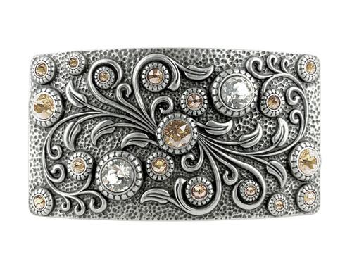HA0850 LASRP Rhinestone Crystal Belt Buckle Antique Rectangle Floral Engraved Buckle (Crystal-Light Silk)