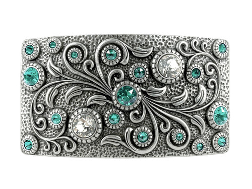 HA0850 LASRP Rhinestone Crystal Belt Buckle Antique Rectangle Floral Engraved Buckle (Crystal-Light Turquoise)