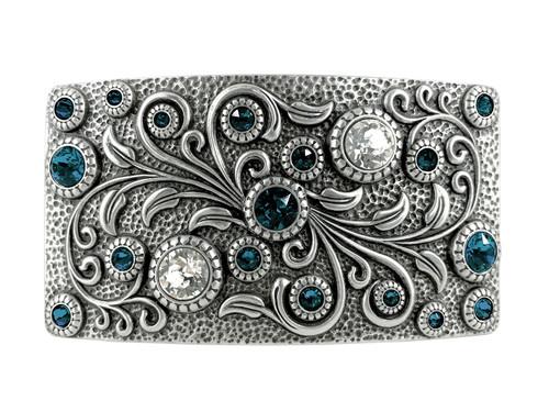 HA0850 LASRP Rhinestone Crystal Belt Buckle Antique Rectangle Floral Engraved Buckle (Crystal-Montana)