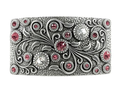 HA0850 LASRP Rhinestone Crystal Belt Buckle Antique Rectangle Floral Engraved Buckle (Crystal-Rose)