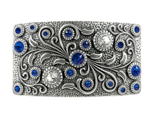 HA0850 LASRP Rhinestone Crystal Belt Buckle Antique Rectangle Floral Engraved Buckle (Crystal-Sapphire)