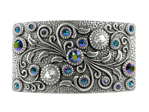 HA0850 LASRP Rhinestone Crystal Belt Buckle Antique Rectangle Floral Engraved Buckle (Crystal-Scarabaeus Green)