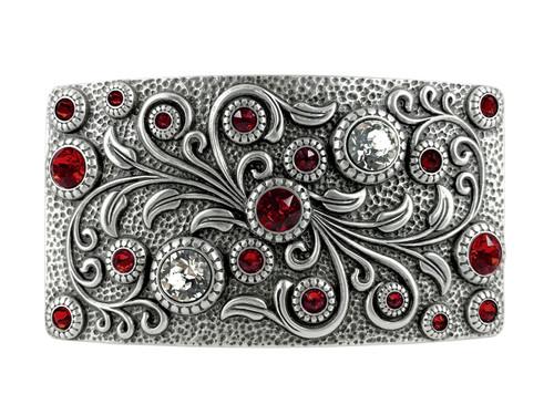 HA0850 LASRP Rhinestone Crystal Belt Buckle Antique Rectangle Floral Engraved Buckle (Crystal-Siam)