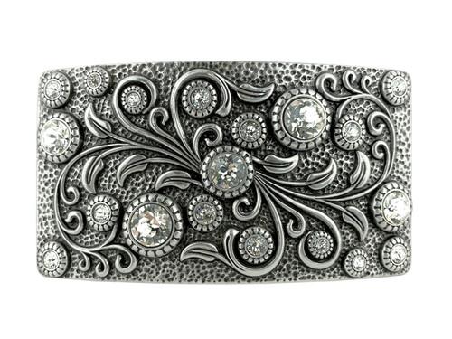 HA0850 LASRP Rhinestone Crystal Belt Buckle Antique Rectangle Floral Engraved Buckle (Crystal)