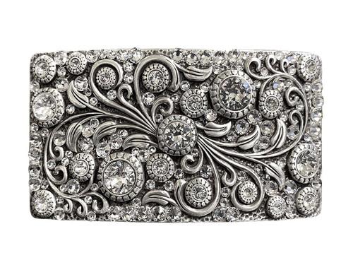 HA0850 LASRP Rhinestone Crystal Belt Buckle Antique Rectangle Floral Engraved Buckle - Silver-Full Crystal