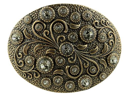 Rhinestone Crystal Belt Buckle Brass Oval Floral Engraved Buckle - Brass-Black Diamond