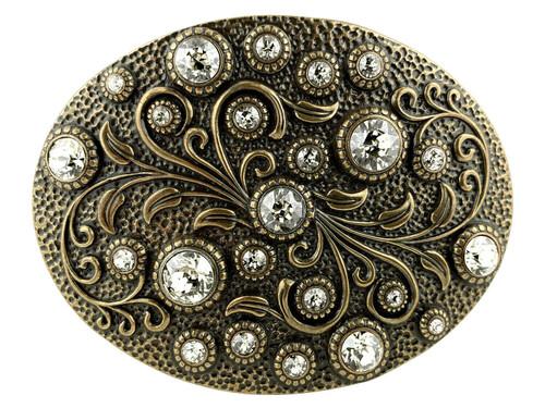Rhinestone Crystal Belt Buckle Brass Oval Floral Engraved Buckle - Brass-Crystal