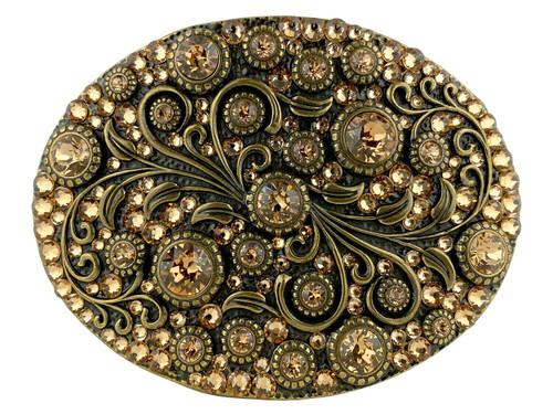 Rhinestone Crystal Belt Buckle Brass Oval Floral Engraved Buckle - Brass-Full Lt Col Topaz