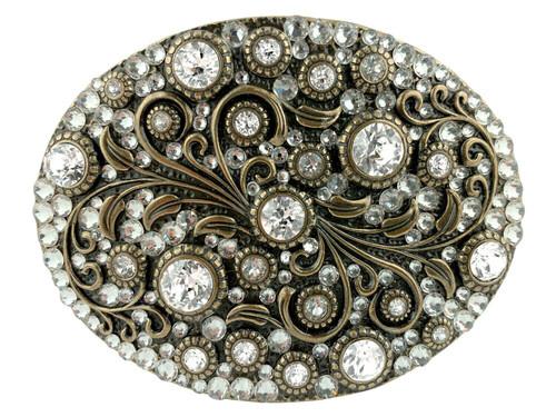 Rhinestone Crystal Belt Buckle Brass Oval Floral Engraved Buckle - Brass-Full Crystal