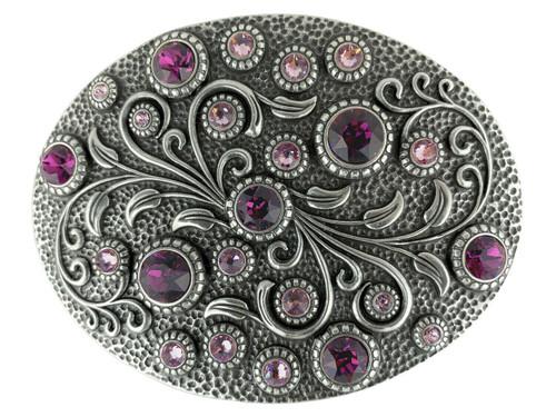 Rhinestone Crystal Belt Buckle Antique Oval Floral Engraved Buckle - Amethyst Lt Amethyst