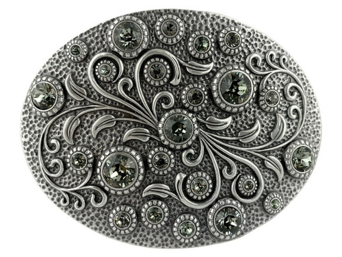 Rhinestone Crystal Belt Buckle Antique Oval Floral Engraved Buckle - Silver-Black Diamond