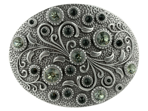 Rhinestone Crystal Belt Buckle Antique Oval Floral Engraved Buckle - Silver-Black Diamond Jet