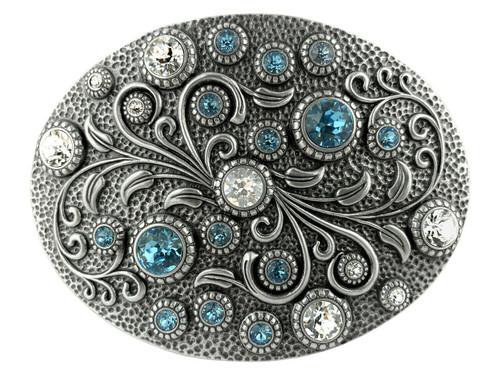 Rhinestone Crystal Belt Buckle Antique Oval Floral Engraved Buckle - Silver-Crystal Aquamarine