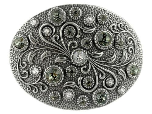 Rhinestone Crystal Belt Buckle Antique Oval Floral Engraved Buckle - Silver-Crystal Black Diamond