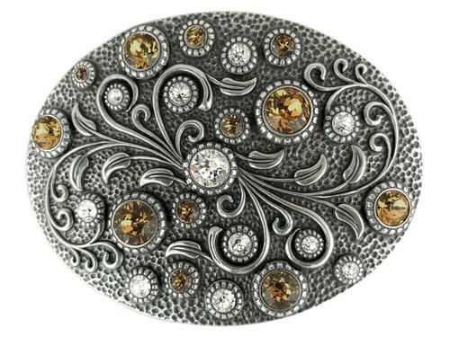 Rhinestone Crystal Belt Buckle Antique Oval Floral Engraved Buckle - Silver-Crystal Lt Col Topaz