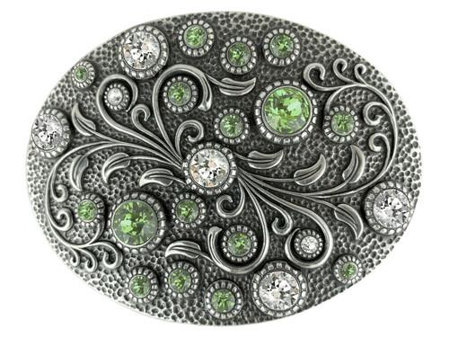 Rhinestone Crystal Belt Buckle Antique Oval Floral Engraved Buckle - Silver-Crystal Peridot