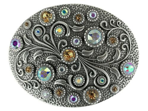 Rhinestone Crystal Belt Buckle Antique Oval Floral Engraved Buckle - Silver-CrystalAB Lt Col Topaz