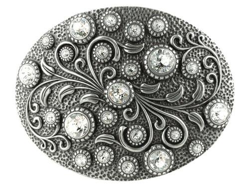 Rhinestone Crystal Belt Buckle Antique Oval Floral Engraved Buckle - Silver-Crystal