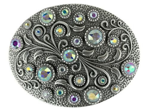 Rhinestone Crystal Belt Buckle Antique Oval Floral Engraved Buckle - Silver-Crystal AB
