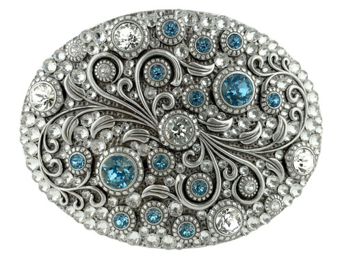 Rhinestone Crystal Belt Buckle Antique Oval Floral Engraved Buckle - Silver-Full Crystal Aquamarine